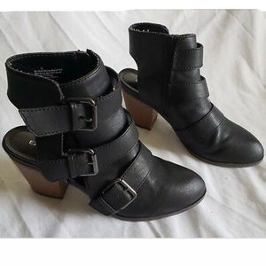 Express Black Strappy Buckle Ankle Booties